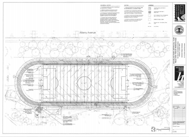 Site plan and specification for Douglas Park Athletic Field. Source: City of Chicago
